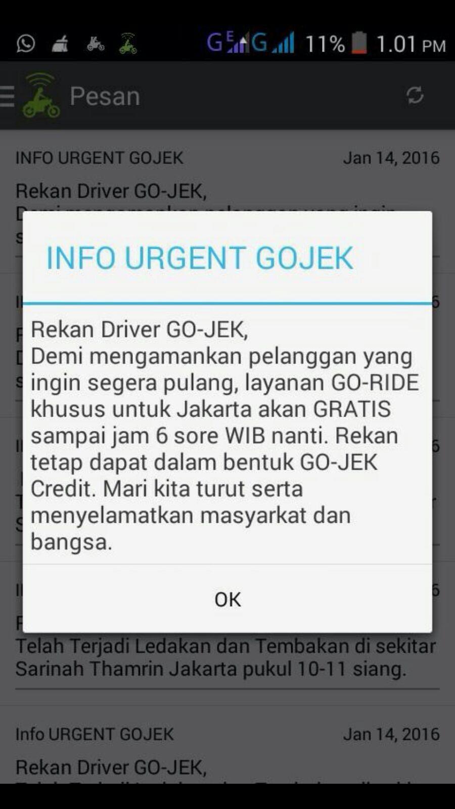 free ride gojek jakarta attacks